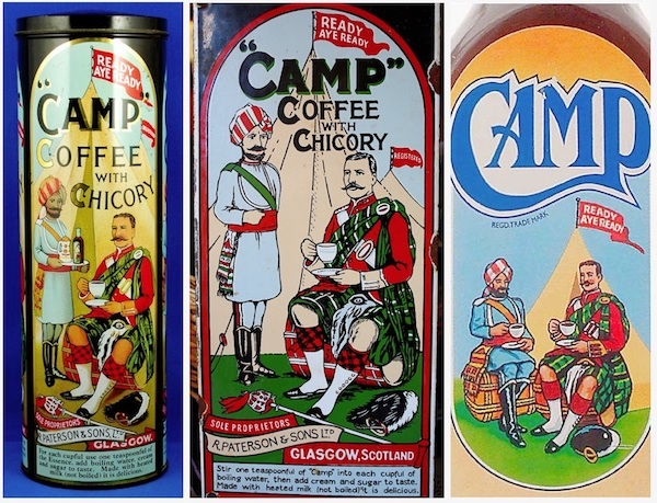 Camp Coffee labels through the decades, probably featuring the image of Hector MacDonald