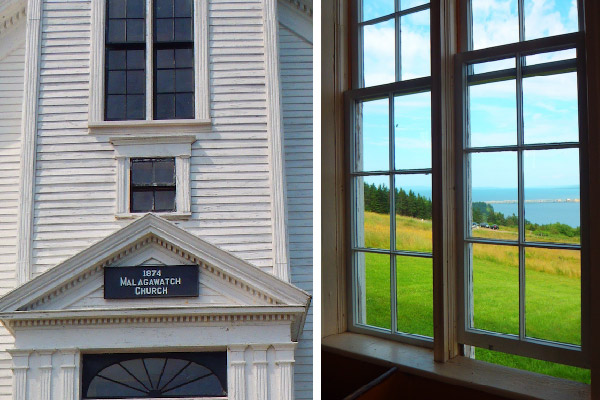 Malagawatch Church - details on the outside and the view from inside