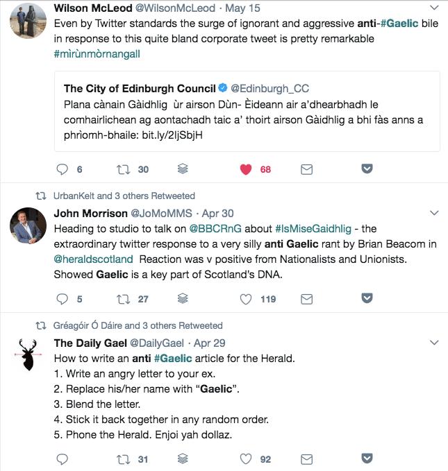 Some Twitter responses to anti-Gaelic rhetoric