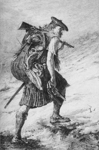 """Disbanded"". Illustration to Walter Scott's novel Waverley, engraving by F. Huth after a painting by John Pettie, as found in 1893 illustrated print edition available on Project Gutenberg. Wikimedia Commons."