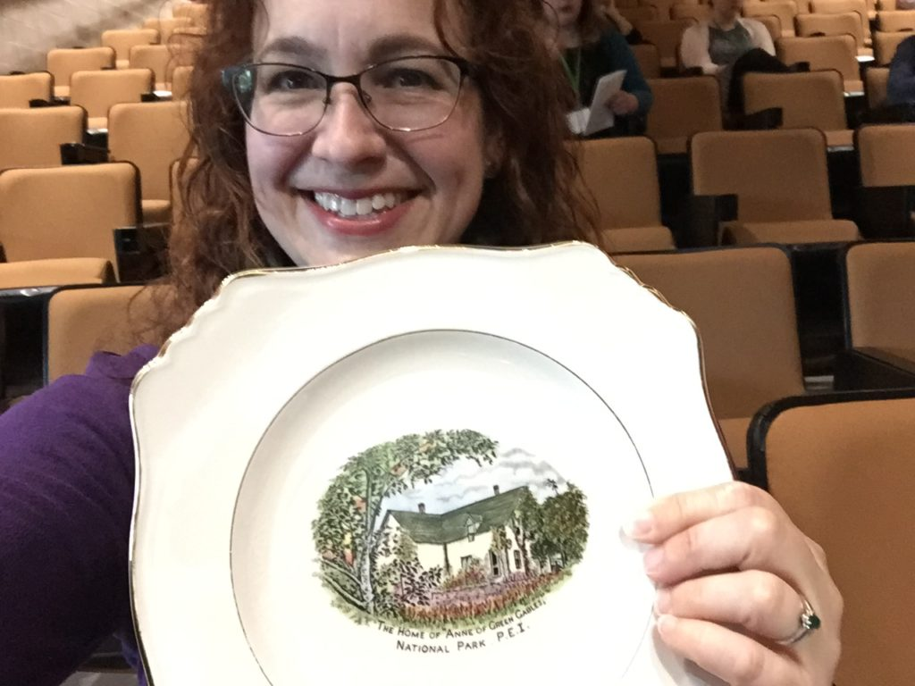 Emily won a vintage Green Gables plate in the charity auction at the L.M. Montgomery Institute Conference!