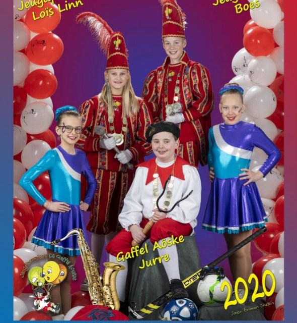 Het Jeugdtrio van 2020: Jeugdprins Boes, Jeugdprinses Loïs-Linn een Gaffel Aöske Jurre