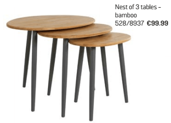 nest of 3 tables argos