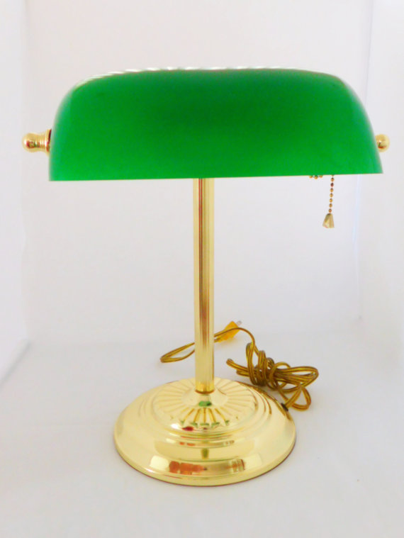green banker's lamp, etsy