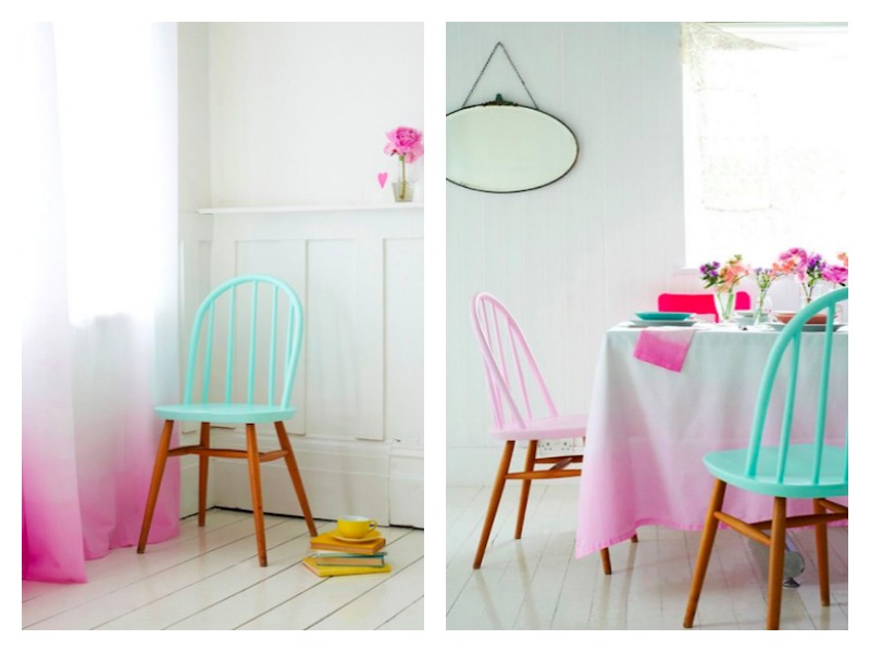 ombre curtains, ombre table cloth