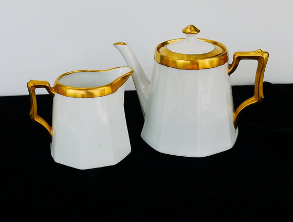 white and gold teapot etsy