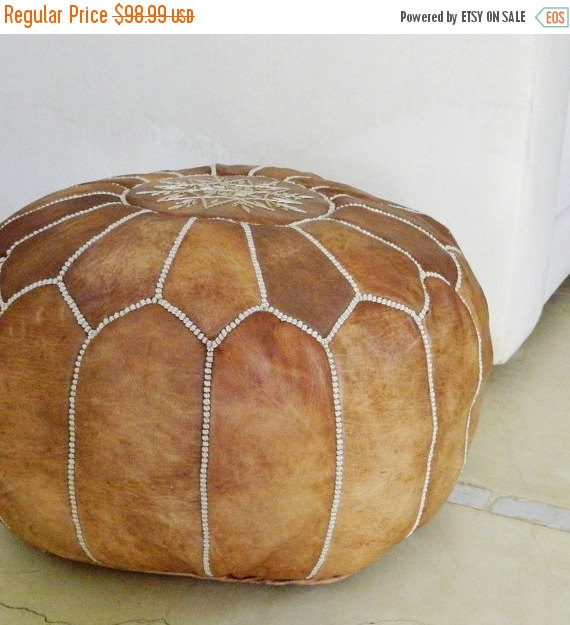 Moroccan leather pouffe €72.90, Etsy
