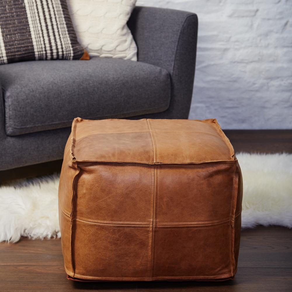 leather pouffe meadows and byrne