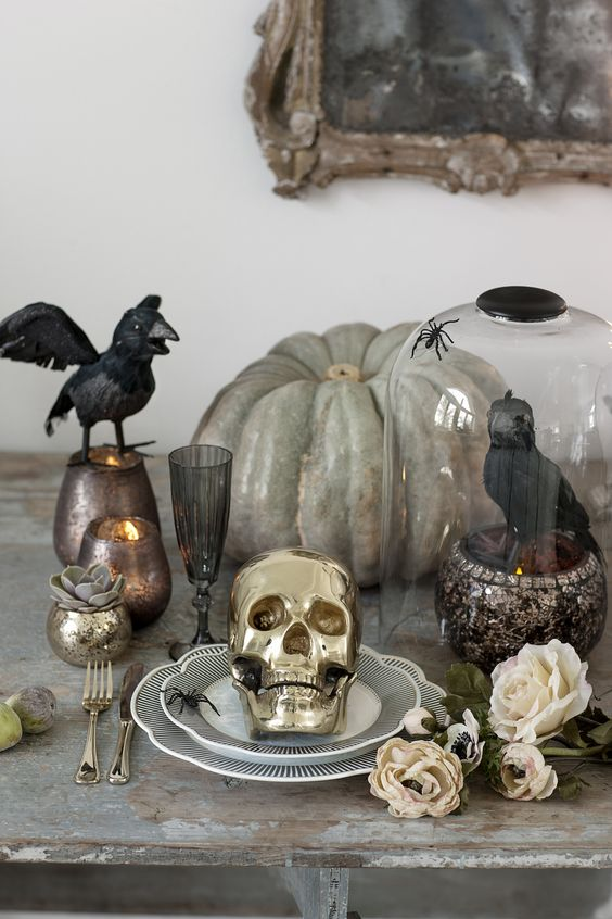 brabbu halloween interiors skull pumpkin dinnerware dinning table