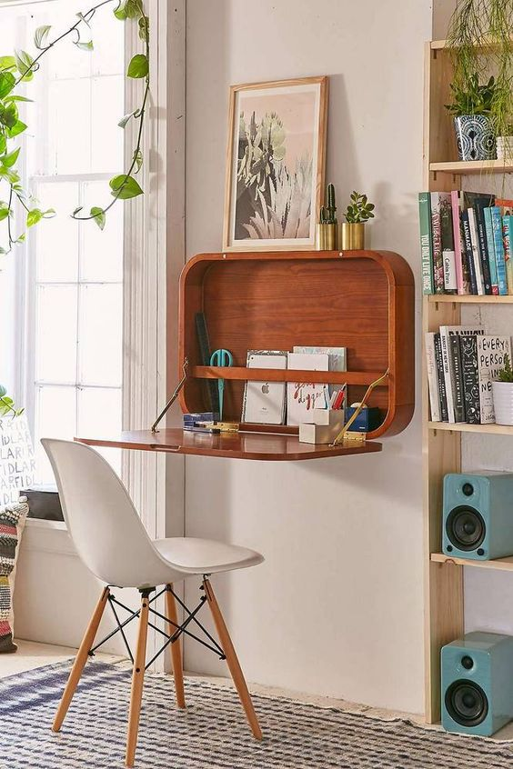 Mid Century Floating Desk From Urban Outfitters - space saving