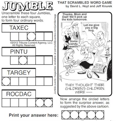 Solving the Morning Jumble