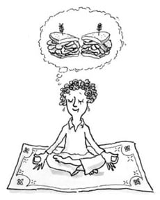 woman in lotus position dreaming of pastrami sandwich