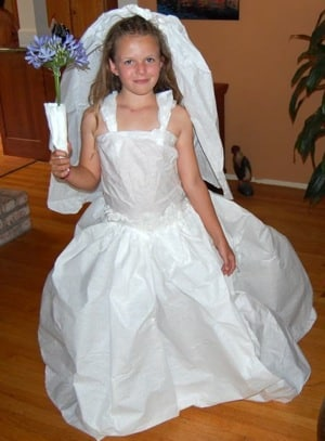 Grandma Makes Kids Paper Gown Costume From Recycled Tablecloth