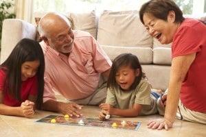 grandparents and grandchildren playing