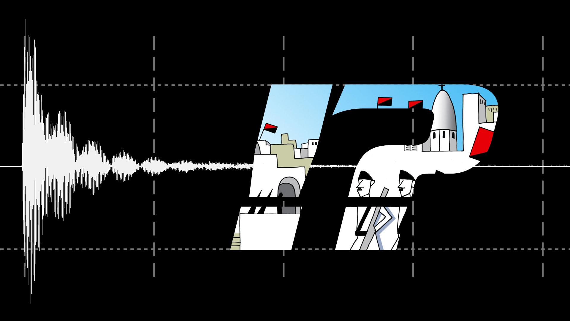 Gissa ljudet!-illustration med utropstecken och frågetecken