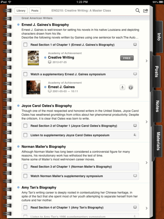 iTunes U App, from a 13 part series on iPad Apps by GagenGirls.com
