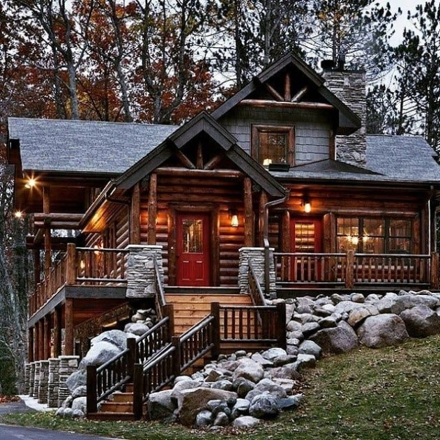 Wonderful Homes Plans Design Ideas With Log Cabin 11