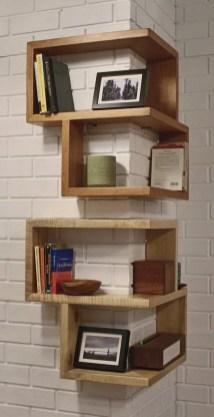 Comfy Corner Floating Shelves Design Ideas To Beautify Your Room Corner 08