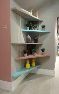 Comfy Corner Floating Shelves Design Ideas To Beautify Your Room Corner 21