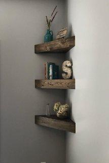 Comfy Corner Floating Shelves Design Ideas To Beautify Your Room Corner 38