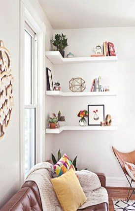Comfy Corner Floating Shelves Design Ideas To Beautify Your Room Corner 45