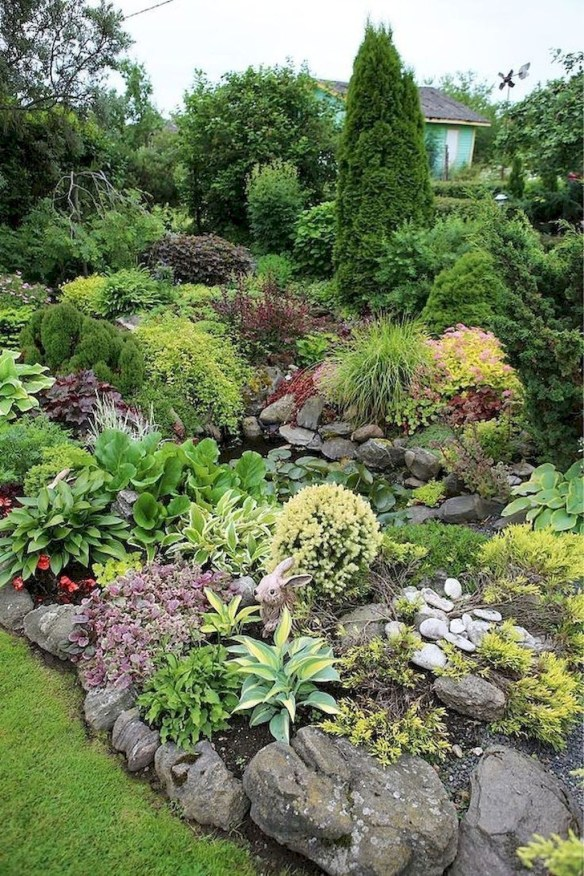 Delicate Garden Landscaping Design Ideas Using Rocks Stone To Try 40