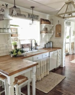 Elegant Farmhouse Kitchen Cabinet Makeover Design Ideas That Very Cozy 20