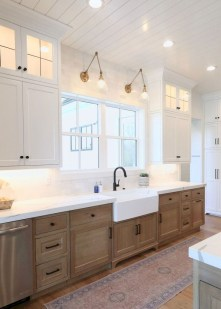 Elegant Farmhouse Kitchen Cabinet Makeover Design Ideas That Very Cozy 21