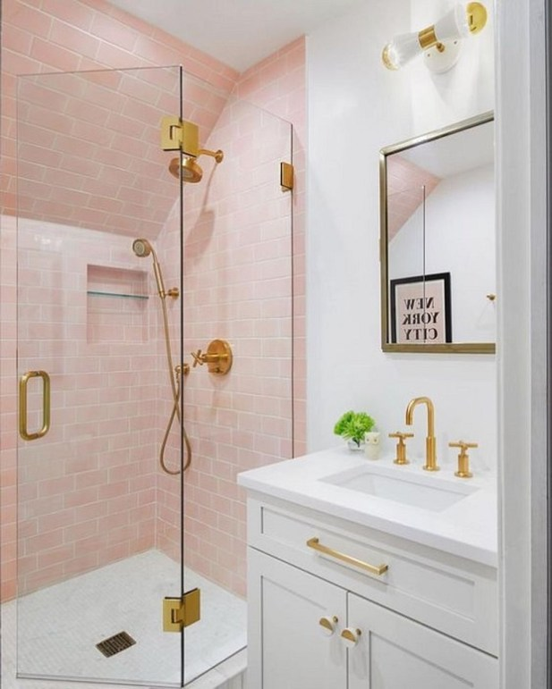 Sophisticated Pink Colors Design Ideas To Transform Your Bathroom 39