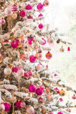 Pretty Pink Winter Tree Decorating Ideas That Looks So Awesome 24