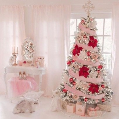 Pretty Pink Winter Tree Decorating Ideas That Looks So Awesome 41