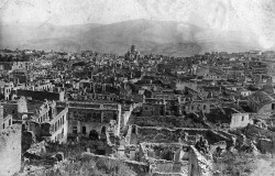 1920 shows a view of Shushi, in the Armenian region of Karbakh, after it was destroyed by Ottoman troops.