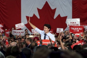 Justin Trudeau of the Liberal Party at a campaign rally this month. Credit Chris Wattie/Reuters