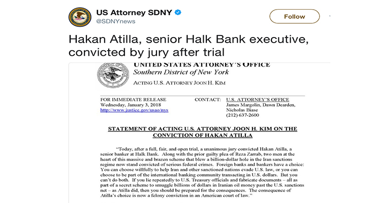 Hakan Atilla, senior Halk Bank executive, convicted by jury after trial