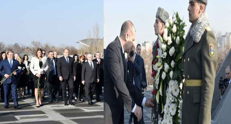 The Bulgarian President laid a wreath at the memorial to the innocent victims of the Armenian Genocide