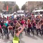 Students from different nations dance Zumba in downtown Yerevan
