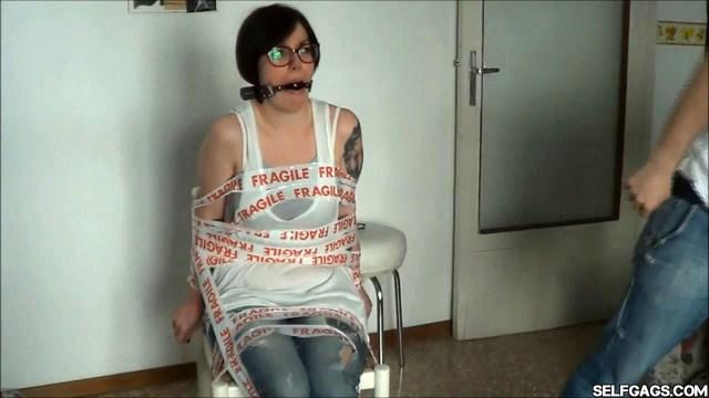 chair tied girlfriend ball gagged