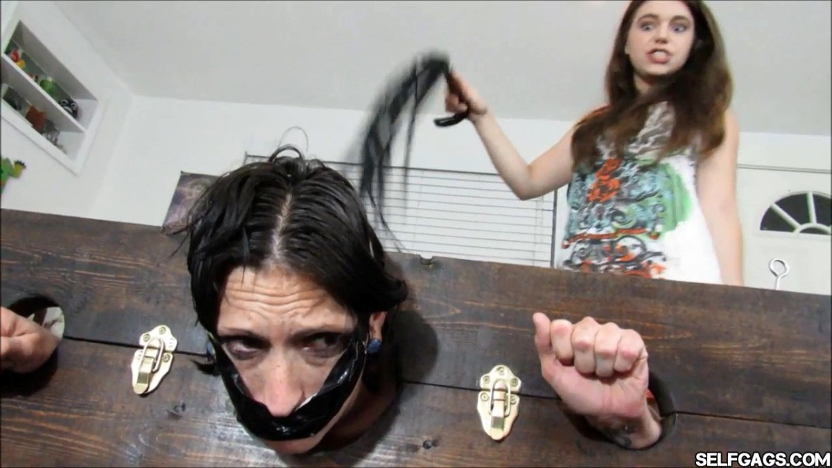 Gagged Mom Whipped By Ruthless Brat Daughter