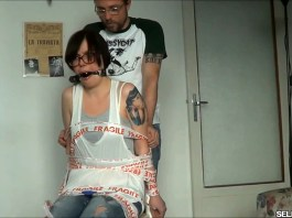 Annoying girlfriend chair tied and ball gagged (photo: selfgags.com)
