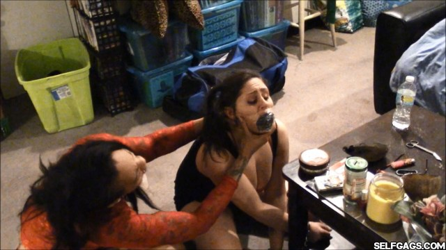 dirty panty gag tape wrapped and gagged