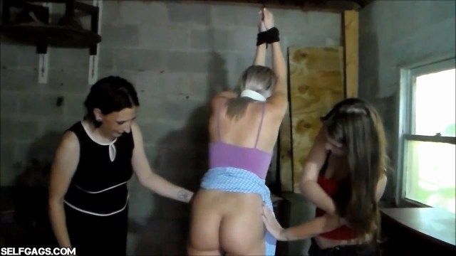 College girl in bondage with ass exposed selfgags