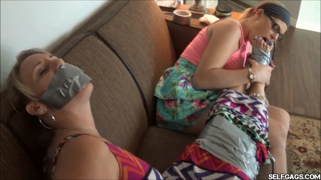 Tape bound tape gagged and foot worshipped by lesbian girl selfgags