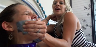 milf mom puts hand over mouth on tape gagged girl selfgags