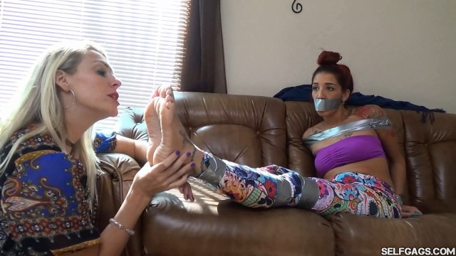 Barefoot latina bondage tied up and tape gagged with sexy feet selfgags
