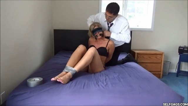 Real estate lady bondage cleave gagged and blindfolded selfgags