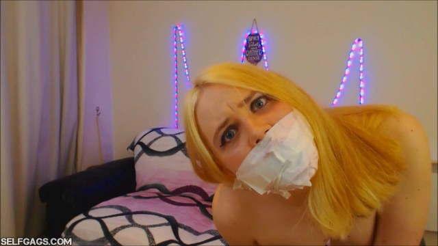 tape gagged blonde gag talks with panties in her mouth selfgags