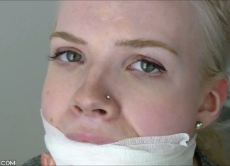 Beautiful blonde girl from Scandinavia gagged selfgags