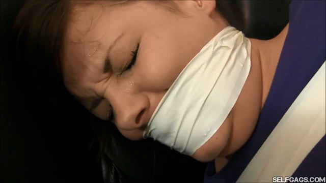 Crying girl tape gagged tight selfgags