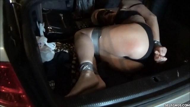 Real estate milf in tape bondage in car trunk selfgags