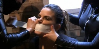 Girl gets tight tape gag from catsuit burglars selfgags
